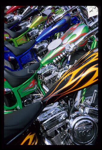 Line of Colorful Motorcycle Tanks