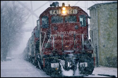 Red Engine in Snow