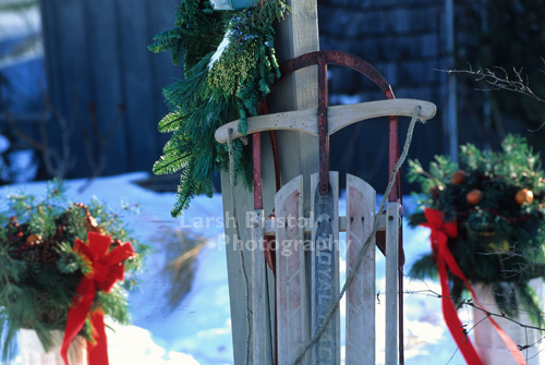 Holiday Wreaths and Sled