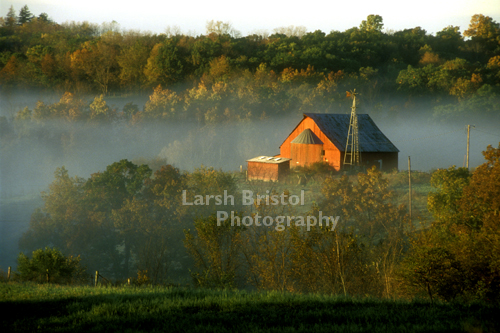 Red Barn in Morning Fog